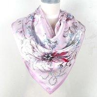 2014 Fashion Brand Female Pink Scarf,Women Polyester Silk Scarf Printed,Flowers Design Satin Big Square Scarf/Shawl For Ladies