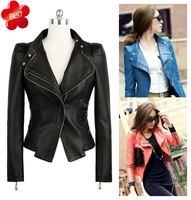 New Women's Punk Bomber Motorcycle Rider Motorbike Biker Cropped Blazer Superb Washed Faux PU Leather Jacket Short Coat