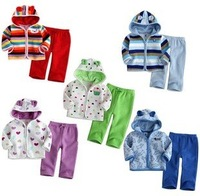 Hot sale! Retail, 1 set!  Spring kids clothing suit, Long Sleeve Jacket+Pants for baby, 4 colors could choose