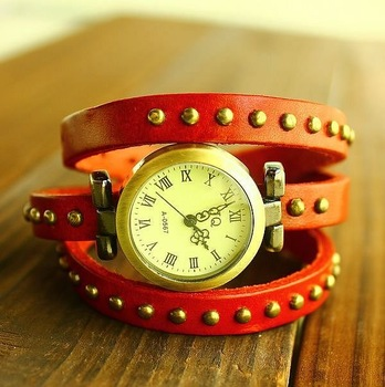 Hot sale punk style bracelet watch wholesale Genuine Cow leather fashion Wrap Women watch TOP quality KOW005