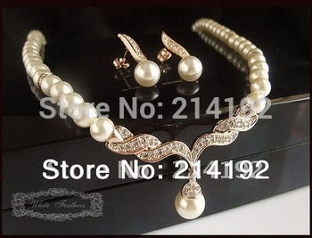 Fress Shipping ! Rose Gold Plated Cream Pearl Rhinestone Crystal Bridal Necklace and Earrings  For Wedding Jewelry Sets