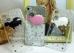 2012 DIY Luxury Bling Diamond Crystal lovely Little sheep Cover Skin hard Back Case for iphone4/4s/4g Free Shipping(China (Mainland))