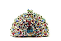 free shipping 2014 new arrival 13 colors crystal luxury Peacock shape women's evening bag crystal women bag chain handbags