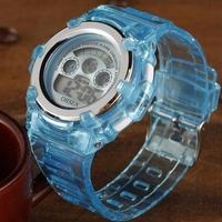 Ohsen brand digital Sport watch Wristwatch kid children waterproof day date Alarm blue silicone hand watches for gift
