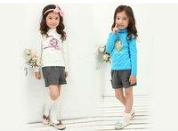 Free shipping  Autumn winter blue white cotton cute Children Girl Kids long sleeve POLO t shirt Tshirt clothing top PCQZ01P06