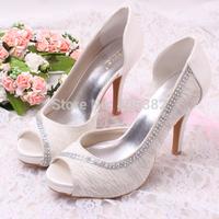 FREE SHIPPING Open toe High Heel Lady Wedding Shoes White Sandals Summer Custom Handmade