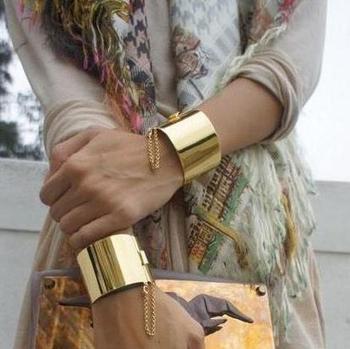Wholesale Fashion Punk Rock Wide Silver And Gold Plated Bangle Cuff Bracelet Punk Bangle Fashion Jewelry AB004