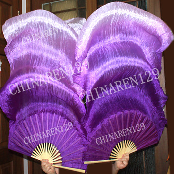 BELLY DANCE 100% SILK FAN VEILS original tie-dye purple-light purple 223