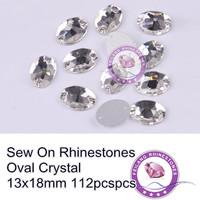 112pcs 13*18mm Crystal AB Oval Shape Button Flatback Sew on Rhinestone Sewing for design Dress
