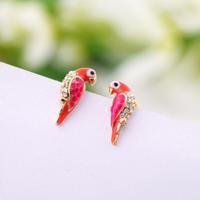 red lovely bird crystal 2013 new Fashion earrings for women  E047