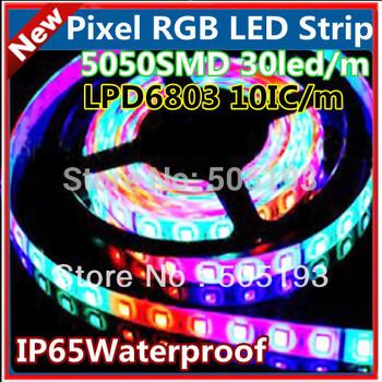 LPD6803IC Pixel Digital RGB led strip 5m, input 12V, 10 IC/m, SMD5050 30led/m, IP65 waterproof, free shipping