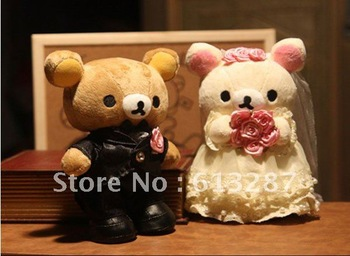 Free Shipping Kawaii 30cm Bride and Groom Rilakkuma Plush Dolls Christmas Gift For Kids,Stuffed Plush Toy Retail