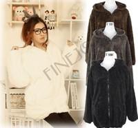 Free shipping 2012 women's Cute Fleeces Comfy Bear Ear Hoodie Jacket coat Coffee/ black 25