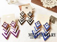 Minimum Order $20 (mixed order)   elegant color block geometry trigonometric long earrings