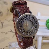 Wholesale Braided Cord Vintage women wristwatches ladies Genuine Cow leather fashion quartz watch women watches GLW7