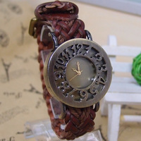 Women Wholesale Genuine Cow leather fashion quartz watch,Braided Cord Vintage wrist watches Ladies  GLW7