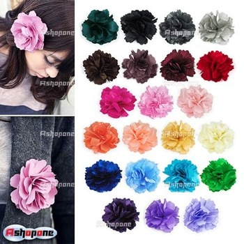 10x Fashion New Ladies Satin Peony Flower Hair Clip Hairpin Brooch 17 Color Free Shipping