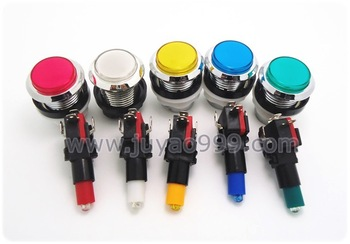 12 pcs of silver plated lighted button Illuminated Push Button  with microswitch for arcade game machine, 5 colors for choosing
