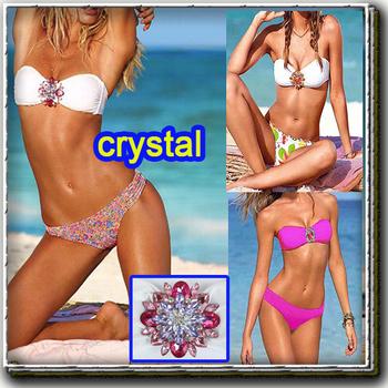 3 layer crystal swimsuit swim suit flower crystal Tankini bikini beachwear swimsuits swimwear for women costume A01132