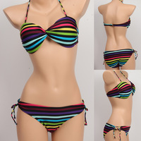 new vs rainbow striped Bikini colorfull Swimwear women swimsuit Bikinis VS with Strappy Sexy for Women beachwear A01026