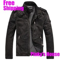 fashion denim coat fashionable men's denim jacket outerwear Jean jacket casual winter coat M#J018J  Free Shipping