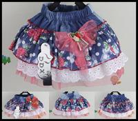 in stock 2014 Flower denim skirts  for girls children's wear girl's skirt 4pcs/lot for 2-8 year girl 11-023