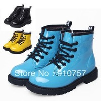 Bright patent leather models fall 2012 boys shoes new children's snow boots Korean version of Martin boots
