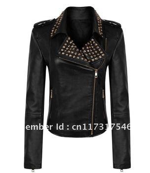 Brand wholesale THOOO  brand Women Notched Lapel Punk Rock 3D Rivet Spiked Studded PU Leather Biker Jacket SIZE S M L XL 2XL 3XL