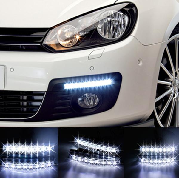 Free shipping New 2PCS Universal Car Light Super White 8 LED Daytime Running Light Auto Lamp DRL #8110(China (Mainland))