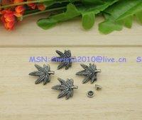 20pcs/lot 15*20mm Gun-black Strike On Rivet Leaf Shaped Metal Stud Nickel Punk Rock Spike with Cap DIY Accessory Free Shipping