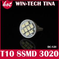 White 30pcs/ lot T10 8SMD LED Wedge Light Bulbs 168 194 914 915  t10 led bulbs 12v lamp Free Shipping