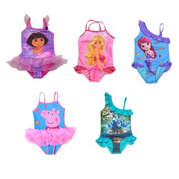 Retail-Hot sale-Freeshipping-GirlsFrozen  Princess peppa pig swimsuit  Dora Swimwear Tankini Beachwear Swimsuit Tutu Dress2-9Y