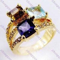 Jewellery Amethyst/Tanzania/Aquamarine lady's 14KT yellow Gold-plated Ring sz8 Zircon ring