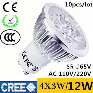 10pcs/lot High Power CREE GU10 (MR16 E27) 4X3W 12W LED Spotlight led lighting led bulb 85-265V 110V 240V free shipping
