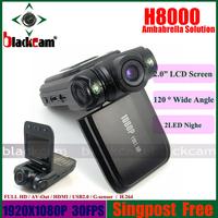 Ambarella Full HD Vehicle DVR Camcorder 1920*1080 30FPS  Camera 120 Degree Wide Angle Singapost Free shipping
