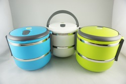 Free Shipping 2 Layers Stainless Steel Lunch Box with handle Thermos Food Container Tableware Dinnerware Sets 1400ML(China (Mainland))