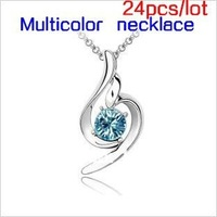 wholesale 24pcs/lot Multicolor necklace Lucky angel morbidezza Austrian crystal necklace (8 color option)