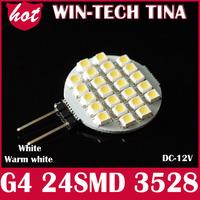 10pcs G4 24 SMD Day White/Warm White LED Auto Lamp Car Light Bulbs 12V Free Shipping