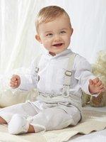 Fashion strap set /Baby boy set: white shirt + plaid strap pants/Gentleman outfit in British style