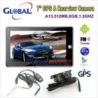 Free shipping beautiful 7 inch android 4.0 GPS MID with wireless rear camera,car navigator with Wifi+AV IN+FM+512DDR3+8GB