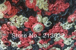 Free Shipping curly bow african lace,lace fabric,embroidery fabric, french lace wholesale and retail leaf flower(China (Mainland))