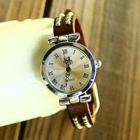 holiday sale high quality Two rows Rivets roma Genuine Cow leather watch women ladies fashion dress wrist watch KOW008
