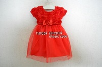 Free shipping 6 pcs Christmas Baby Dress Girls Kids New Year Clothes O-neck 3D Flower Bow Dress Party Dress White Red 1029007-BD