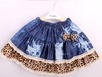 2013 Free shipping girl short-skirt/girl ball gown bow chirldren clothing Jeans-skirt