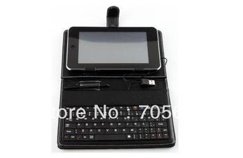 """Free shipping English with Russian language USB Keyboard & Leather Cover Case Bag for 7"""" Tablet PC  keyboard case for choose"""
