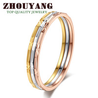 Top Quality ZYR029 Three Color Round 18K  Gold Plated Fashion Ring  Austrian Crystals Full Sizes Wholesale