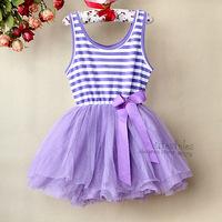 2014 Baby Girl Lace Dress Purple Striped Infant Tutu Pattern Dresses 6Layers Chiffon And 1 Cotton Lining Baby Ball Dress