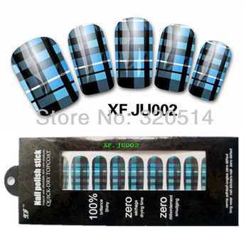 Free Shipping 10sheetsx5Packs Nail Art Decals Metallic Foil Wraps Stickers Fingers/Toes Blue Glitter Strip tape Design  #JU002
