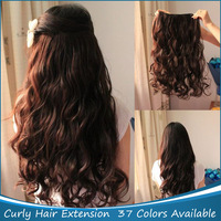 "Free Shipping 1Pcs/Lot New Long 20"" Ladies' Synthetic Hair One Piece Clip in On curly Hair Extensions"