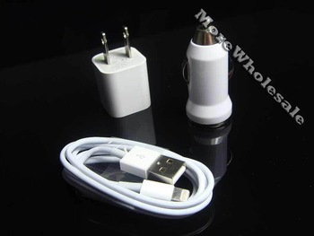 For iPhone 5 3 in 1 Charger Kit US Plug 50pcs US  Wall Charger + 50pcs Car Charger + 50pcs USB Cable 150pcs/lot Express Shipping